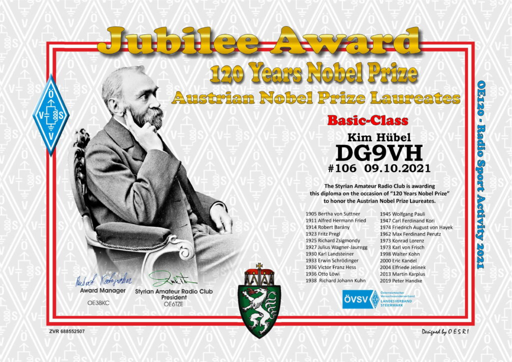 Basic Diplom-Urkunde #106 120 Jahre Nobelpreis