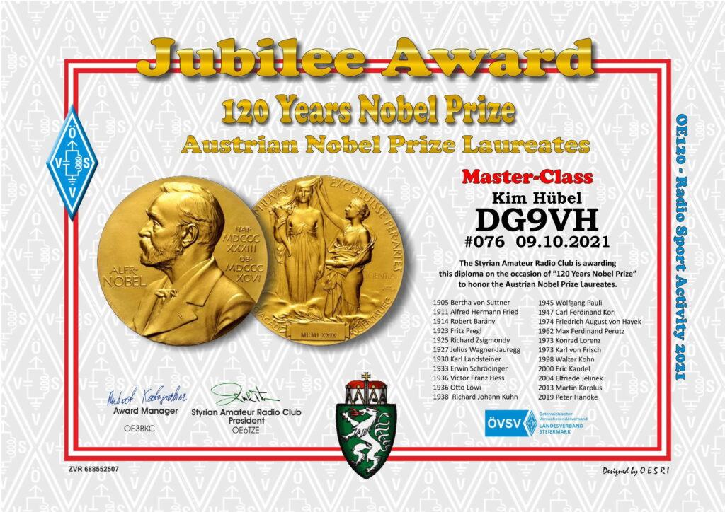 Master Diplom-Urkunde #076 120 Jahre Nobelpreis